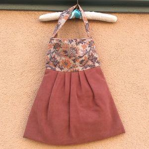 Vintage Handmade Edwina Blush Suede Carpet Bag